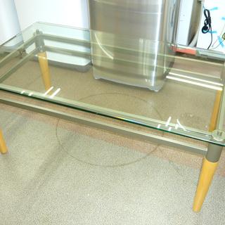 ガラステーブル 幅110㎝ ガラスセンターテーブル リビング ロ...