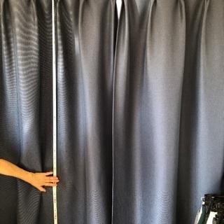 濃い青い遮光カーテン 防ダニ等機能付き
