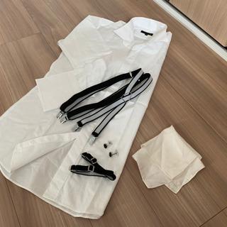 ●タキシード ワイシャツ サスペンダー カフス チーフ 結婚式 ...