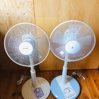 【中古】扇風機 2台 高さ調整可能 首振り機能 タイマー付き