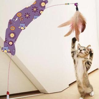 新品 猫おもちゃ 猫じゃらし 天然鳥の羽棒鈴付き 羽根 02