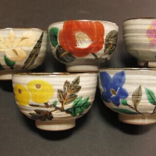 季節の花 染め付け 揃い茶碗 5客 新品未使用