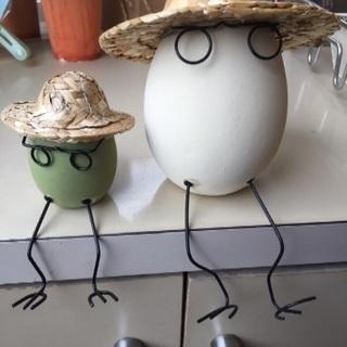 麦わら帽子 たまごの親子  白 グリーン