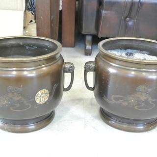 古い火鉢 2個セット C 灰入り アンティーク 古民家