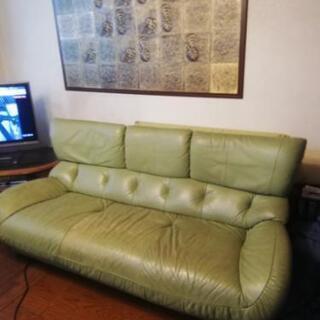 カリモク製 3人掛けレザーソファーの画像