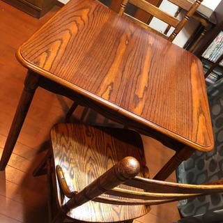 【決まりました】デザインダイニングテーブルとイス2脚セット、アジ...