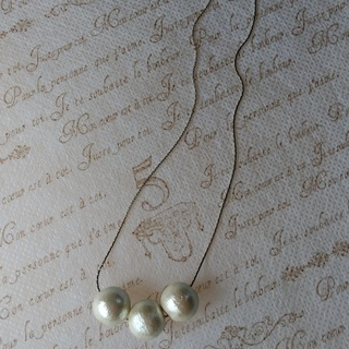 コットンパール三粒のネックレス