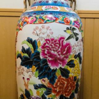 美術品 大壺 飾り壺 牡丹の花 高さ123㎝