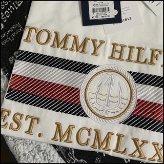 凝った刺繍がすごい Tシャツ ホワイトL TOMMY HILFIGER
