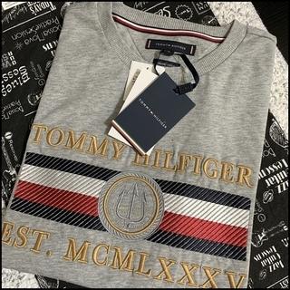 凝った刺繍がすごい Tシャツ グレーS TOMMY HILFIGER