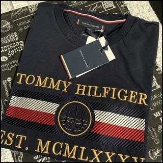 凝った刺繍がすごい Tシャツ ネイビーS TOMMY HILFIGER