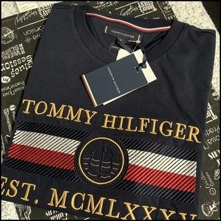凝った刺繍がすごい Tシャツ ネイビーM TOMMY HILFIGER