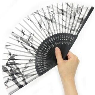 800円 高級シルク扇子 竹