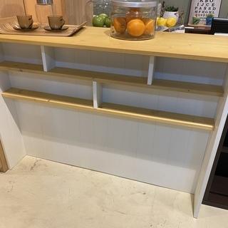 キッチンカウンター 白×ナチュラル 収納棚 食器棚 中古品
