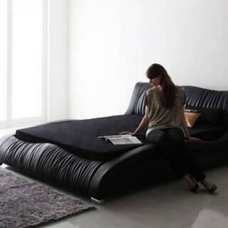 【未使用・訳アリ】ダブルサイズ・モダンデザイン高級レザーデザイナーズベッド・6629 - 家具