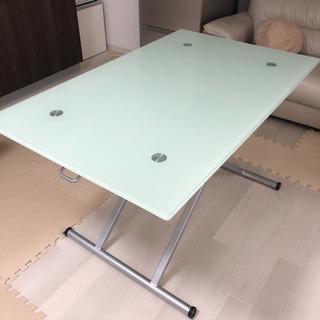 ニトリガラステーブル ダイニングテーブル アクティブ 昇降式 ホ...