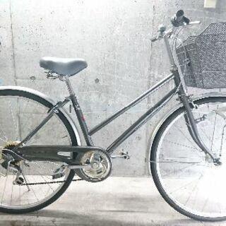 自転車中古 forte 外装6段変速 オートライト カゴ付き 鍵...