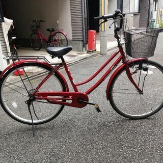 シティサイクル ママチャリ26インチ 赤色 美品