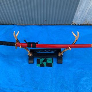 玩具、刀、鹿の角刀掛け、セット