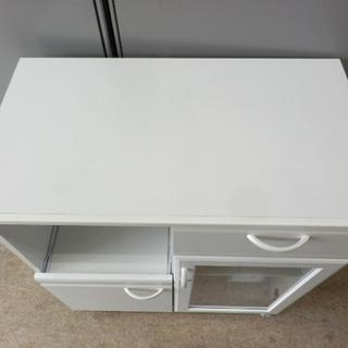 レンジボード 白 キャスター付き 幅74cm ホワイト ペイペイ対応 札幌市西区西野 - 家具