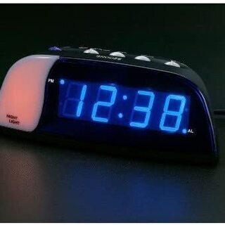LANDEX(ランデックス) デジタル目覚まし時計 クールス ブルーLED表示 ブラック YT5023BK - 家電