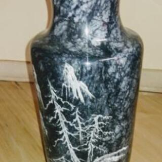 圧海 中国美術   大理石 山水図花瓶 フラワーベース 中…