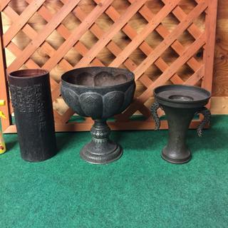 古物 アンティーク 銅 真鍮 置物 3点セット