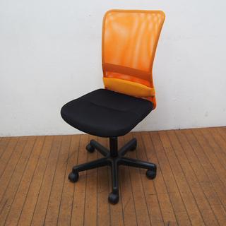 オフィスチェア メッシュ チャットチェア PCチェア オレンジ ...