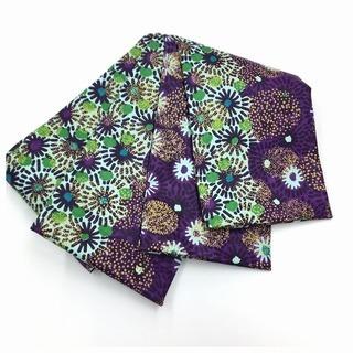 美品 半幅帯 長尺460cm 紫 エスニック 更紗 化繊…