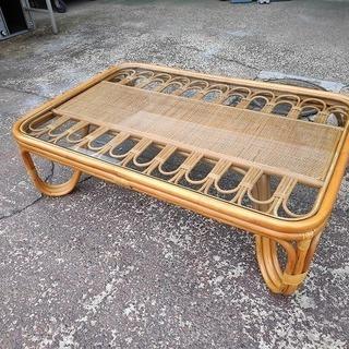 籐のガラスローテーブル『良品中古』  【リサイクルショップサルフ】