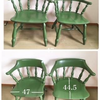 飛騨家具 柏木工 チェア 椅子4脚  ヴィンテージ ペイントリメイク