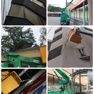 福岡 高所作業車にて高所作業対応 高所枝切り剪定 外壁高圧洗浄、...