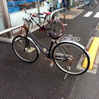 ★差し上げます ジャンク大人用自転車 シルバー カゴ、鍵付き