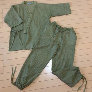 作務衣 グリーン 抹茶色 Lサイズ