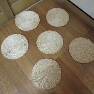 天然草マット 6枚セット 35㎝丸形 直径約35㎝×厚み約13㎝...