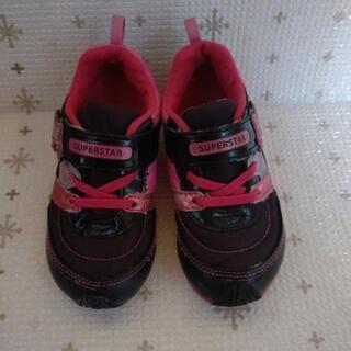 子供靴17cmMoonStarムーンスター黒ピンク