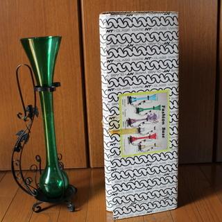花瓶 本体はガラス製 外郭はスチール製 未使用