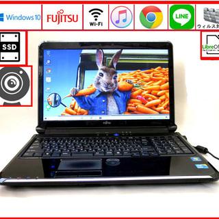 富士通 メモリ6GB 新品SSD128GB ノートパソコン/we...