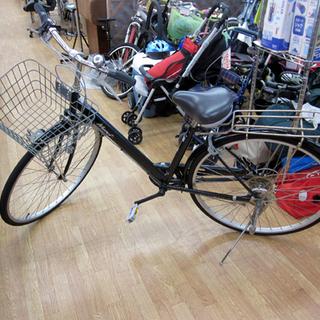 自転車 27インチ シティサイクル 6段切替 カゴ付き 鍵付き ...