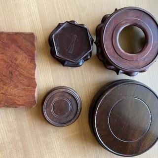 飾り台 5個セット 花台 香炉台 骨董 木製 ディスプレイ 杢目