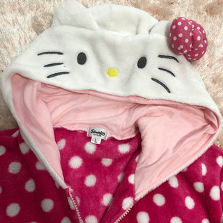 キティ サンリオ パジャマ ルームウェア  ドット 水玉 ピンク