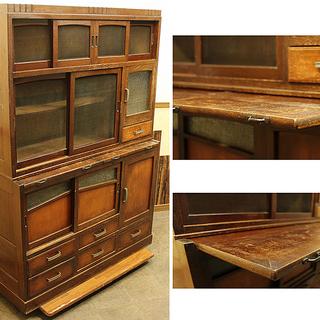 古い木の食器棚 作業台付 アンティーク 網戸棚 家具 蠅帳(R1...