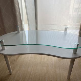 美品 ガラステーブル(白)