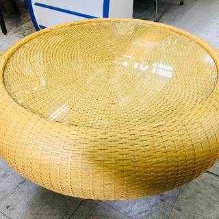ローテーブル ラタンテーブル ガラストップ ガラステーブル
