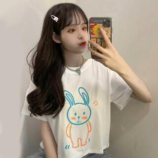 Tシャツ 半袖Tシャツ ウサギ柄 かわいい free size