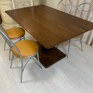 昇降式 ダイニングテーブル 椅子4脚セットの画像