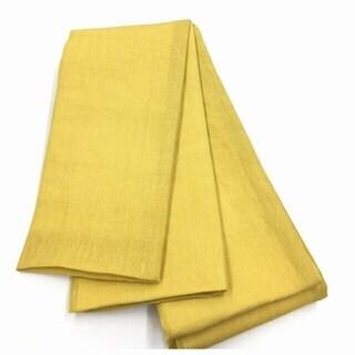 半幅帯 芥子色 リネン素材 長尺 半幅帯 色無地 長さ460