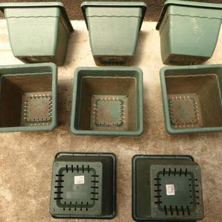 植木鉢 8個 (四角・プラスチック・緑色) 【手渡し】JR倉敷駅周辺