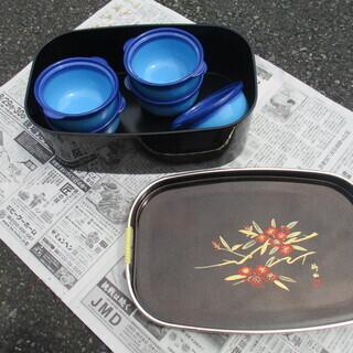 収納箱付き食器(青)
