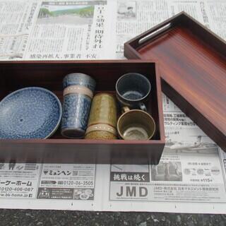 箱入りのモダンなティーカップ&ソーサー&湯呑セット